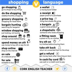 "Shopping  -- note that ""receipt"" is pronounced ""ree-SEET"" (or /ri:-'si:t/ if you know IPA).  Grocery is ""gro-shu-ree"".  Bargain, wallet and refund have stress on the first syllable.  Note also that the expression is ""go shopping"", NOT go to shopping.  --"