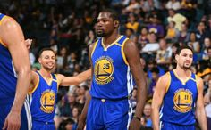 Golden State Warriors Kevin Durant, Stephen Curry, and Klay Thompson