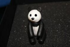 clay panda with crystal eyes!