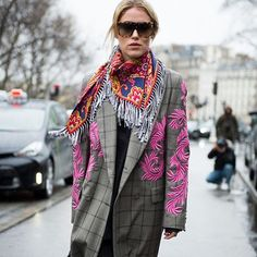 Curly cue: an embroidered coat by Dries Van Noten and Celine scarf on Annabel Rosendahl @annabelrosendahl at the Lanvin show. Photo by @gastrochic #PFW