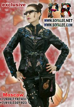 """№103 Black-blue leather jacket for ladies """"Inbrunykach"""" - Exclusive leather jackets&blazers. Women's clothes leather jackets from real python skin,genuine crocodile (alligator) hide skin, suit, coat, vest, dress of leather. Luxury Sheepakin. Mittens&Earmuffs fur red/silver fox, mink. Shop for jackets. Costumes for movie stars, concert, dance, show. Make to order luxury leather clothing."""