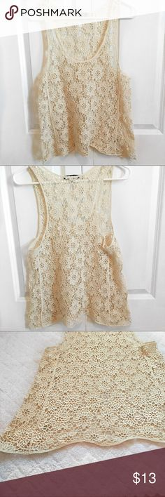 LOVE CULTURE WHITE/CREAM CROCHET TOP! White/Cream crochet top! LOOKS LIKE NEW! Great for festivals. It can also be worn with colored tank tops underneath to make the crochet design stand out more! The bottom part of the top has a cute wavy cut. 😊 Love Culture Tops Tank Tops