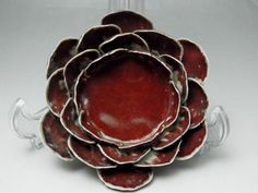 Vintage Red Chinese Porcelain Candle Holder in Qing #1645 - antique shop CHANO-YU
