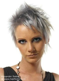 Hairstyles, haircuts, hair care and hairstyling. Hair cutting and coloring techniques to create today's popular hairstyles. Modern Hairstyles, Popular Hairstyles, Pixie Hairstyles, Haircuts, Very Short Hair, Short Hair Cuts, Short Hair Styles, Pelo Color Gris, Short Asymmetrical Haircut