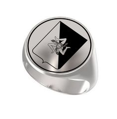 Sicily Island Italy Region Symbol Engraved Round 925 Sterling Silver Signet Ring #Signet