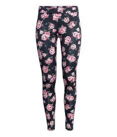 Jersey Leggings | Black/floral | Ladies | H&M US