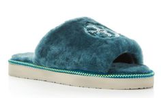 NEW Tory Burch Women's Teal Shearling Fur Logo Slide Slippers Shoes #ToryBurch #SlipperShoes