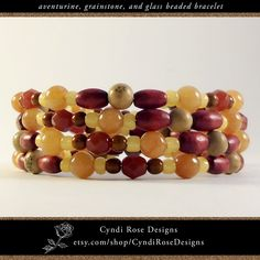 Items similar to Wrap around, beaded bracelet with natural aventurine semi precious gemstones, grainstone, wood, and glass beads on Etsy Pale Orange, Yellow And Brown, Beaded Jewelry, Beaded Bracelets, Unique Jewelry, Rose Design, Wooden Beads, Spiral, Rust