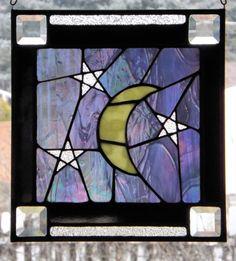 Stained Glass Panel Iridescent Night Sky Moon Stars Panel Suncatcher Original Design via Etsy
