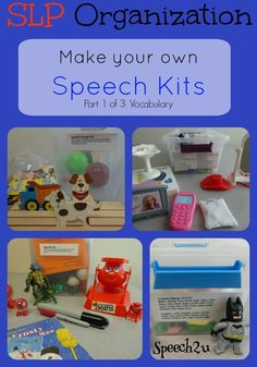 Organization: Make your own Speech Kits - Speech 2U. Love this! I use lots of little manipulatives for this very purpose. Repinned by SOS Inc. Resources pinterest.com/sostherapy/.