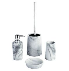 Marble bathroom accessory set soap dish dispenser #tumbler #toilet brush #holder,  View more on the LINK: http://www.zeppy.io/product/gb/2/191693531822/