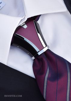 Hoodtie - The new luxury tie accessory for bold men. Haston II Model, Burgundy & Black #tie #tietheknot #menstyle #mensfashion #pittiuomo #suit #burgundy #black #fashionbloggers #lookoftheday #dapper