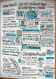 News panel. Sketchnotes by Amanda Wright.