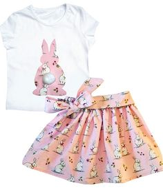 Girl's Rabbit Skirt and Tee shirt Outfit / Easter Clothes