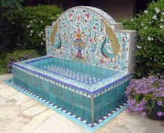 Cobalt Blue Tile Mural with peacocks Spanish Fountain