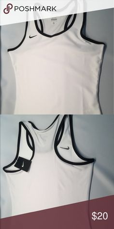 Nike Dri-Fit White Workout Running Tank Size M & L Nike Women's Workout Running Tank Top Stretch White & Black 92% Polyester 8% Spandex Dri Fit Perforated on Back. Medium and Large Available Nike Tops Tank Tops