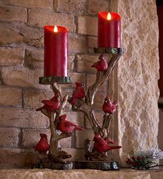 Our Cardinal Candlestick brings unique style to your holiday decor. Each holiday candlestick is designed in highly detailed cast resin, crafted to resemble a branch with a flock of vibrant red cardinals.