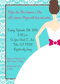 Modern Bride Shower Invite went perfect with the 'Something Blue' theme we have going