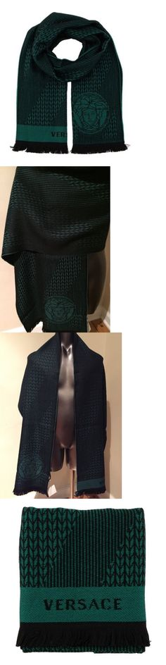 Scarves 52382: New Auth Versace 100% Wool Medusa Men S Green Black Knit Scarf Made In Italy -> BUY IT NOW ONLY: $55.99 on eBay!