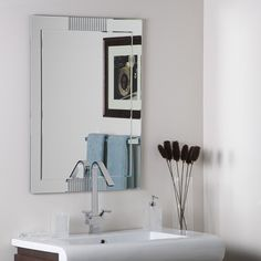 Decor Wonderland Francisca Frameless Wall Mirror, Large >>> Visit the image link more details. (This is an affiliate link and I receive a commission for the sales)