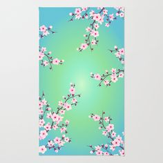 Cherry Blossom and green Background Area  Throw Rug #rug# cherry blossom#green#turquoise#pink