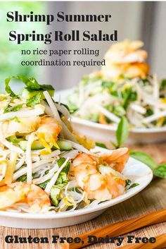 When you don't have the time or patience to properly roll summer rolls - make this deconstructed Shrimp Summer Roll Salad instead - with tons of fresh herbs, crunchy bean sprouts, soft rice noodles, and flavorful ginger shrimp. Gluten-Free and Dairy-Free.