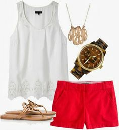 Red Shorts,White Lace Top With Cool Flats