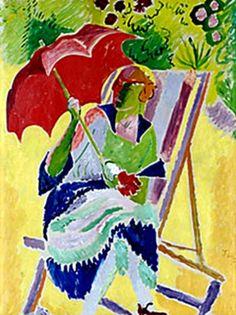 The Red Parasol - Isaac Grunewald - c. 1910 He studied under Henry Matisse. Born/died in Sweden. Paul Cezanne, Henri Matisse, Famous Artists, New Artists, Umbrella Art, Lake Art, Parasols, Jewish Art, High Art