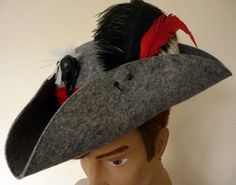 Pirate Tricorn Fantasy Pirate hat wool by LulunaClothing on Etsy
