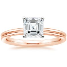 Asscher Cut 2mm Grooved Comfort Fit Solitaire Diamond Engagement Ring - 14K Rose Gold