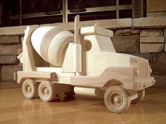 Jouet camion de ciment en bois faits à la main