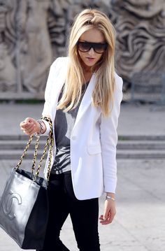 black pants white blazer