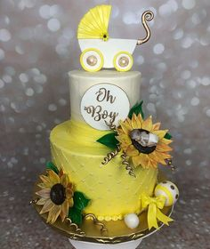 Sunflower Babyshower🌻 photography by Sunflower Party, Sunflower Baby Showers, Baby Shower Cakes, Baby Boy Shower, Baby Shower Decorations, Babyshower, Birthday Cake, Floral, Photography