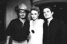 Cast of Pirates of the Caribbean. Johnny Depp, Kiera Knightley, and Orlando Bloom. <3