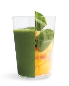 Green Ginger-Peach Smoothie  2 handfuls baby spinach  1 teaspoon grated peeled fresh ginger  2 cups frozen sliced peaches  2 teaspoons honey  1 1/4 cup