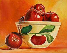 Red Apples in Vintage Watt Yellowware Bowl