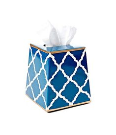 Design Darling home decor & monogrammed gifts — Navy Trellis Tissue Box Cover