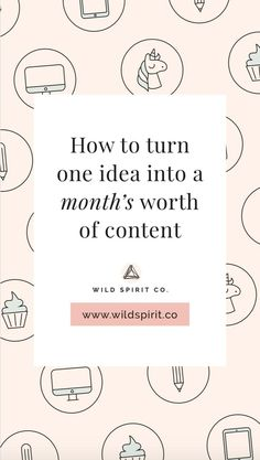 How to turn one idea into a month's (or more!) worth of content for your biz - Wild Spirit Copywriting - Tired of generating fresh, must-read, totally-worth-your-time content week after week after week (l - Inbound Marketing, Content Marketing Strategy, Business Marketing, Online Marketing, Facebook Marketing, Media Marketing, Wordpress For Beginners, Blogging For Beginners, Creative Business