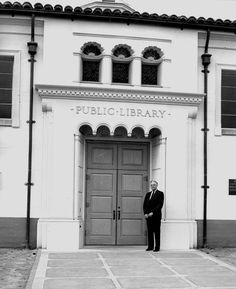 1941 - Dec Harry K. Vaughn standing in front of the entrance of the new Fullerton Public Library. Works Progress Administration, Work Project, Local History, Entrance, City, School Ideas, Outdoor Decor, Public, Projects
