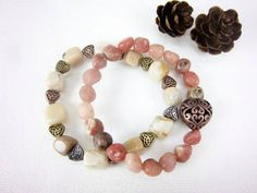 Mothers Day Mixed Gemstone Bracelets Stacking by ThreadedChains