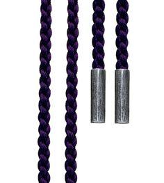 Ole Lynggaard Copenhagen Purple Mokuba silk string with silver ends length 130 cm - Kennedy Jewellers
