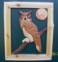 intarsia owl | Flickr - Photo Sharing! REALLY LIKE THE FRAMING