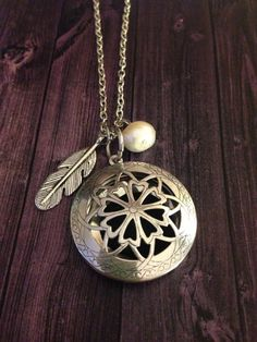 Pearl Feather Locket Aromatherapy Necklace by EOFLW on Etsy