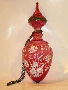 Cranberry Bohemian Glass Perfume Bottle, pretttttttttyyyyyyy