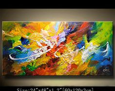 3 Panels,Abstract Wall Painting, expressionism Textured Painting,Impasto Landscape Painting ,Palette Knife Painting on Canvas by Chen Art Painting, Colorful Landscape Paintings, Abstract Painting, Painting, Art, Wall Painting, Texture Painting, Abstract, Canvas Painting