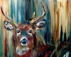 Print of Colorful Deer Oil Painting by NicoleVestArtworks on Etsy, $20.00