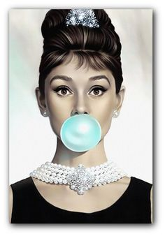 Audrey Hepburn Blue Bubblegum Canvas Art Print or Poster by ReverieLanePrints on Etsy https://www.etsy.com/listing/212415948/audrey-hepburn-blue-bubblegum-canvas-art
