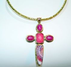 Pink Agate  Pendant and Brass shoker Gemstone by ByPearlWithLove