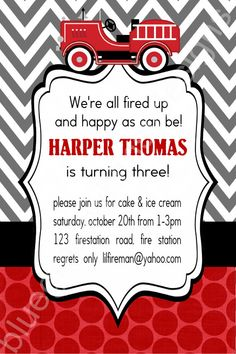 Firetruck Birthday Party Invitation for Boys- polka dot and chevron Third Birthday, 3rd Birthday Parties, Birthday Party Invitations, Boy Birthday, Birthday Ideas, Birthday Board, Fireman Party, Firefighter Birthday, Party Packs