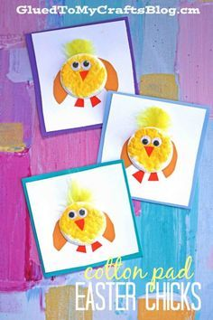 Cotton Pad Easter Chick Cards